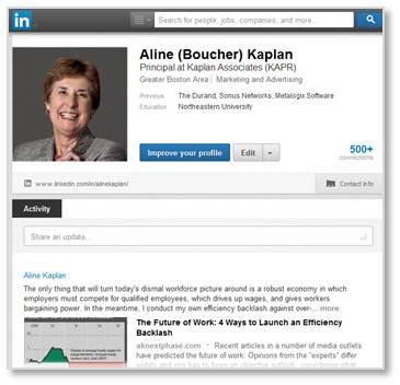 LinkedIn, Aline Kaplan, profile
