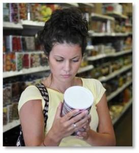 Reading labels, supermarket, processed food ingredients