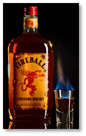 Fireball whisky, propylene glycol, cinnamon whisky