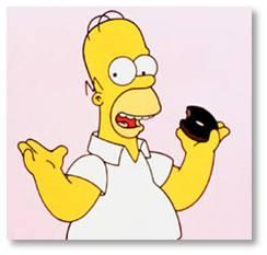 Homer Simpson with a chocolate doughnut