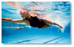woman swimming laps, swimming pool, lap lanes