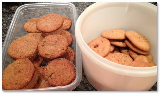 oatmeal muffins and peanut butter cookies