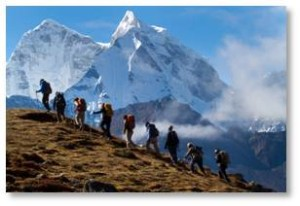 Mountaineers climbing in the Himalayas