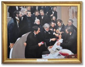 The event was photographed and documented and in 2000 MGH's service chiefs and physicians commissioned a painting as their gift to the hospital. Painters Warren and Lucia Prosperi created a large work to immortalize an event that ushered in the new age of pain-free surgery.