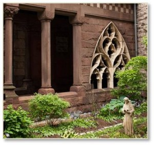 Also take note of the Gothic window on the south side of the garden. This stone window tracery came to Boston from the Church of St. Botolph in Boston, Lincolnshire, England. It was removed by the authorities of St. Botolph's church to make room for a modern organ chamber.