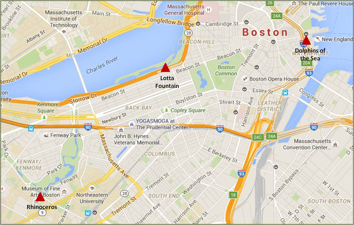 Here's a map of the three Katherine Lane Weems animal statues in Boston. Bessie and Victoria can be found on the Harvard University campus in Cambridge, MA.