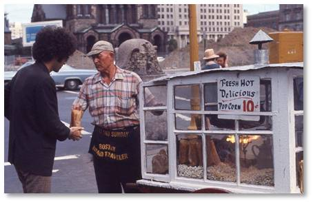 The Popcorn Man is one of my fondest memories of my student days in Boston. I always felt a connection to him, possibly because I love popcorn and looked forward to seeing his cart. The city is poorer without him.