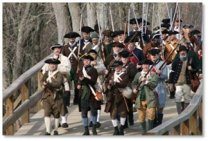 Monday is Patriot's Day in Massachusetts—the original holiday when we celebrate the start of the Revolutionary War. On April 19, 1775, companies of Minute and Militia from communities all around Concord armed themselves and marched toward Concord Bridge to engage the British Regulars, then went on to Lexington where they fought again on the Battle Green. Every year on April 19, Companies of Minute and Militia still march along the Battle Roads and re-enact the two momentous engagements in which the first shots were fired.