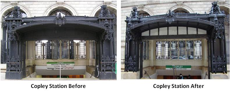 To be fair, the best way to understand the magnitude of the difference is to scroll through the Copley Station Headhouse Before and After photos from DeAngelis. Iron that was dull now gleams. Dirty, scarred windows now shine. The bronze (not iron) corner lanterns stand upright. Designs that were thick and dull are not crisp and clean. It's an amazing improvement and one that deserves respect from the pedestrians and commuters bustling around it.