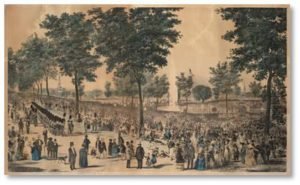 In 1848 the Frog Pond on Boston Common was the focus of Boston's Cochituate Water Celebration. On October 25 of that year a fountain of water shot 80 feet above the Frog Pond to inaugurate the city's first public water supply. That's the day when water piped from Lake Cochituate in Natick replaced the city's cisterns, wells, and springs, giving citizens a steady supply of pure drinking water for the first time.