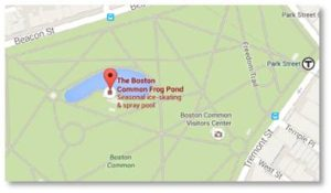 The Frog Pond on Boston Common is so popular it has its own Twitter handle (@BosComFrogPond) and the Tadpole Playground has its own website. Both features are both easily found within Boston Common. Take the T's Green Line to the Park Street Station and walk west. Or park in the underground Common Garage and walk east. The playground hours are listed here. Do not expect to go skating in the summer or splashing in the winter. Opening day for the spray pool in 2016 is Friday, June 24. It will be open from 11:00 a.m. to 6:00 p.m. through Labor Day.