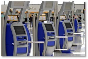 Airline Terminals: I much prefer using the check-in kiosks to standing in long lines waiting for too-few agents to issue my boarding pass and check my bag. It took an adjustment but now I like it because the new way is faster and more efficient as long as the kiosk functions properly.
