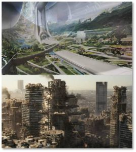 Or would it be a dystopian world like the one in Elysium where in which the One Percent live lavish lifestyles safely removed from desperate masses who struggle to survive with no money and no help?