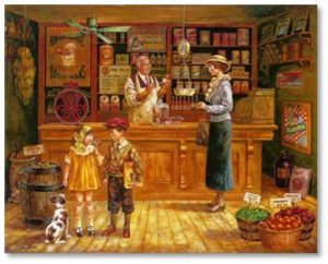 Food Shopping: Grocery stores used to be small shops with all the goods kept behind the counter. A customer would walk in and place her order with the owner who would, along with his clerk, pull the items from the shelves, bag them, and tell the customer what she owed.