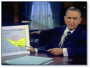 The only time a Presidential candidate actually used visual aids was in 1992 when Ross Perot employed them to demonstrate his position on the future of the economy and the growth of the national debt. He spoke directly to the American people and showed us what he meant with actual graphics.