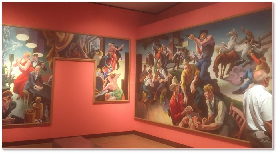 "The room full of Thomas Hart Benton's murals on the ""Arts of Life in America"" that the NBMAA rescued when the Whitney Museum in Manhattan sold them are astonishing in their color, movement, and historical scope. (Not to mention that I never knew Jackson Pollock was his assistant and his image is depicted in the ""Arts of the West"" panel.)"
