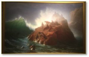 Familiar with Albert Bierstadt's enormous landscapes, I had never seen anything like Seal Rock with its luminous wave and frolicking pinnipeds.