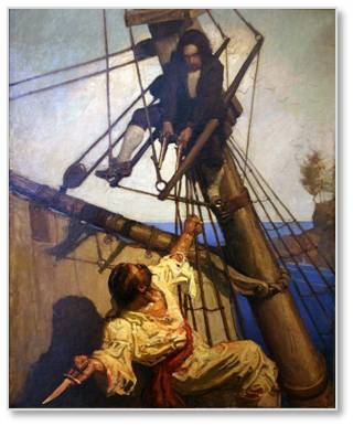 So I loved this exhibit of works in different media that were produced for commercial purposes by some of the great names of illustration: Howard Pyle, N.C. Wyeth, Normal Rockwell, Stephan Dohanos, and Maxfield Parrish among many others.