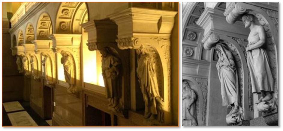 Sixteen architectural sculptures, life-size allegorical figures created by Domingo Mora, line the sides of the Great Hall. A plaque beneath each statue identifies it like the saints and prophets in a cathedral.
