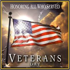 As we celebrated Veteran's Day this year we honored the men and women who defend our freedom with their lives, serving America in war and in peace.    They serve as a reminder of what America stands for as we look ahead to what is possible.