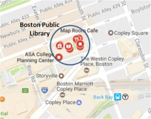 The McKim Building of the Boston Public Library is located on Dartmouth Street at the west end of Copley Square. Climb the sweeping staircase past the statues of Art and Science by Bela Pratt. Go through the cast bronze doors with bas-relief sculptures by Daniel Chester French.