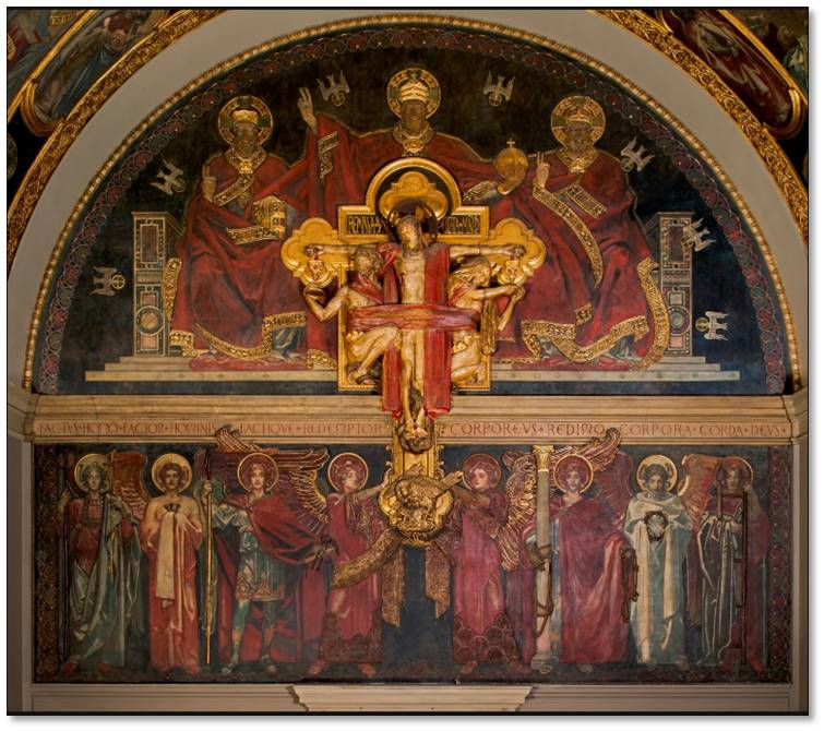 """It is fitting that my eighth and final post about Boston's angels gives us eight elegant, gilded angels. These decidedly non-ethereal beings belong to a mural called """"Dogma of the Redemption: Trinity, Crucifix and Frieze of Angels"""" by John Singer Sargent."""