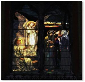 Angels appear in several of the windows, most notably the Nativity and the Resurrection. Both windows feature a chorus of heavenly angels and the latter window also gives us a luminous Angel of the Lord standing behind the tomb of the Risen Christ.
