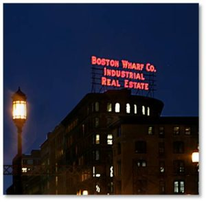 The Boston Wharf Company Sign on Boston's Skyline