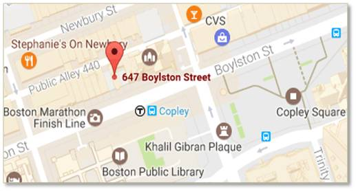 647 Boylston Street is located between Dartmouth and Exeter Streets across from the Boston Public Library's newly renovated Johnson Building.