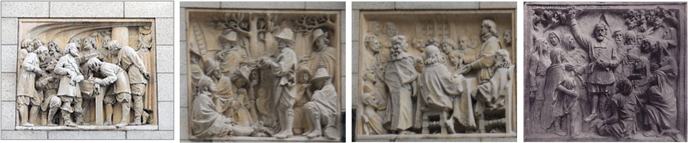 "Outside, flanking the balcony on the second floor of the Congregational Library are four bas-relief sculptures that ""illustrate the core values of the Congregational tradition."""