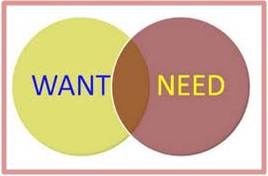 I appreciate the difference between want and need.  They are not mutually exclusive because life is meant to be lived.