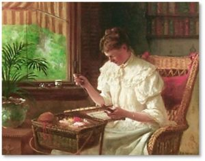 Woman Embroidering by James Brade Sword