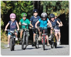Kids on bikes with helmets, bicycle helmets