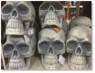 plastic skulls, Halloween decorations