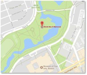 War Veterans Memorial Map, Back Bay Fens, Agassiz Bridge, Museum of Fine Arts