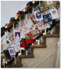 Christmas cards, staircase, balusters