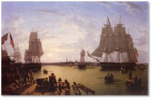 Robert Salmon, Boston Harbor, Constitution Wharf, clipper ships