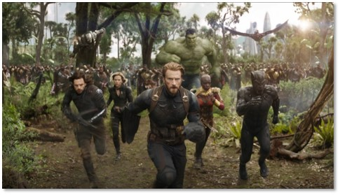 Avengers Infinity War, battle scene, Thanos, Captain America