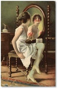 Woman Looking in Mirror, vintage post card, dress for success