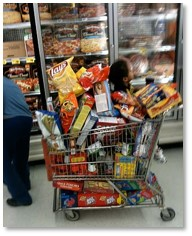 full shopping cart, food shopping