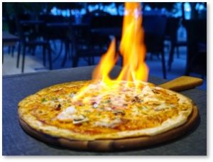 flaming pizza, pizza burn, gum graft, dental procedure