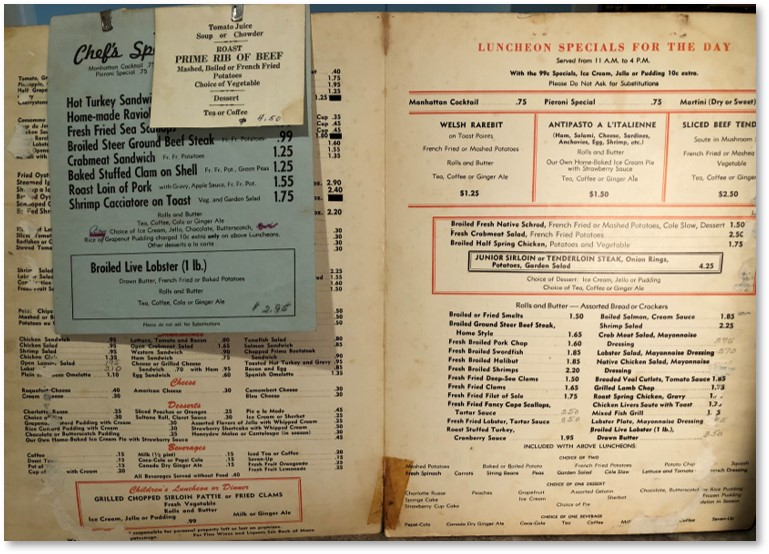 Pieroni's Sea Grill, Pieroni's menu, Giuseppe Pieroni