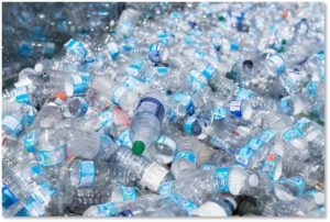 plastic water bottles, single-use water bottles, trash, food waste