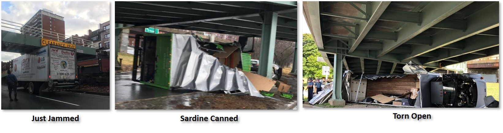 Storrow Drive, Getting Storrowed, low-clearance bridges, sardine-canned, jammed