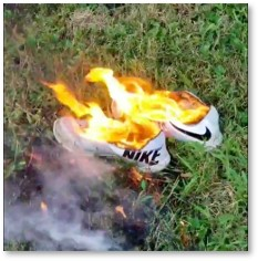 Nike Sneakers, burning, Colin Kaepernick, Just Do It
