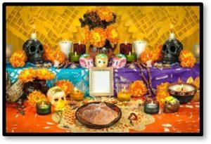 pan de muerto, fiambre, hot chocolate, Day of the Dead, altar, Dia de los Muertos