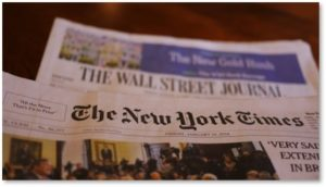 WSJ, NYT, The Wall Street Journal, New York Times, print edition