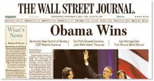The Wall Street Journal, front page, Obama Wins