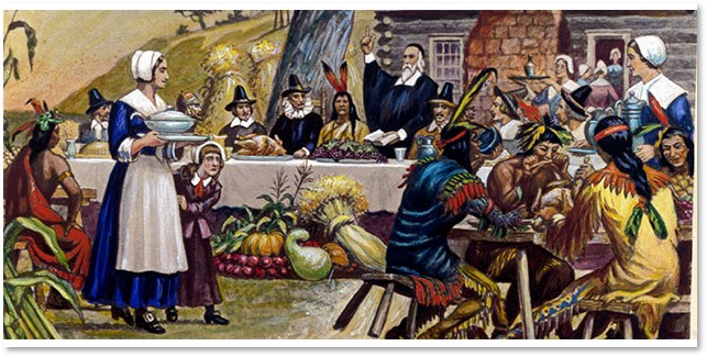 The First Thanksgiving, Pilgrims, Wampanoag Indians, turkey
