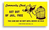 Get Out of Jail Free card, words, Monopoly